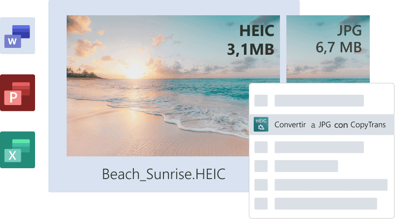 HEIC compatible con MS Office