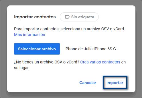 Importar contactos a Gmail