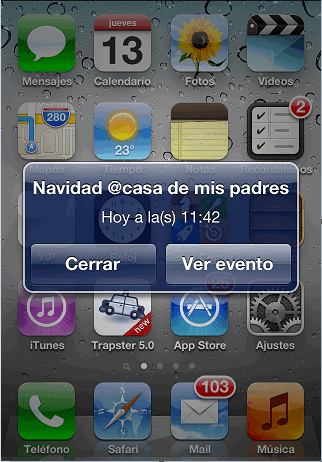 alerta para calendario iphone