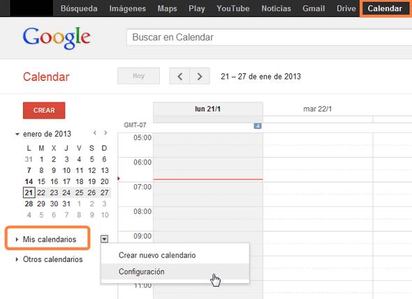 exportar calendario google
