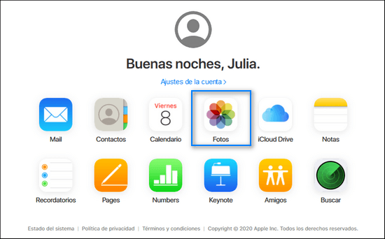 Elegir fotos iCloud