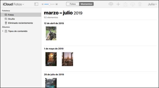 Momentos en Fotos de iCloud Navegador