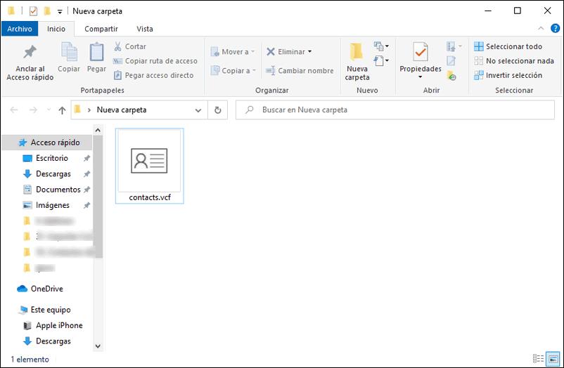 Contactos Gmail en archivo vcf