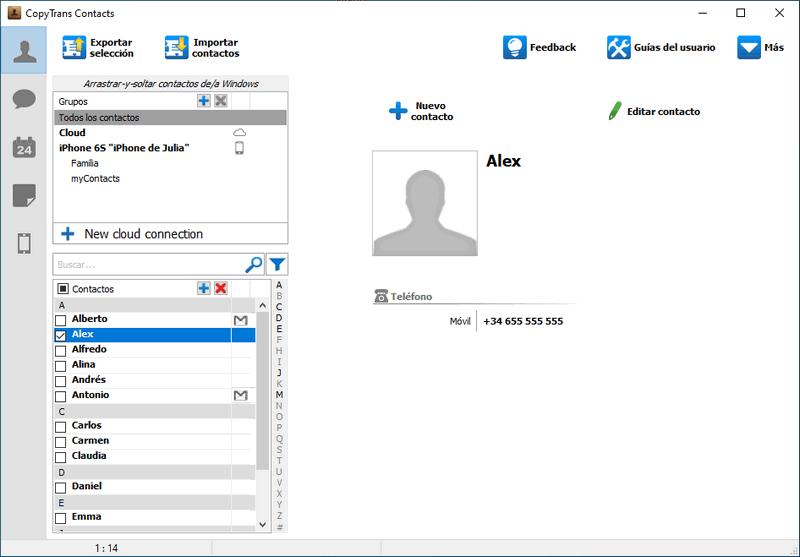 Icono de sobre para contactos de Gmail