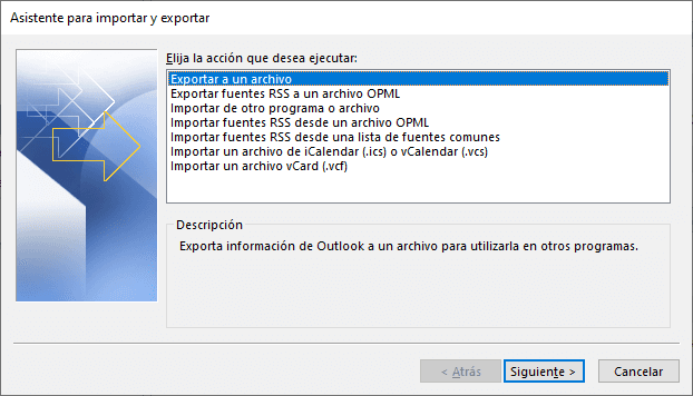 Exportar archivo de contactos de Outlook