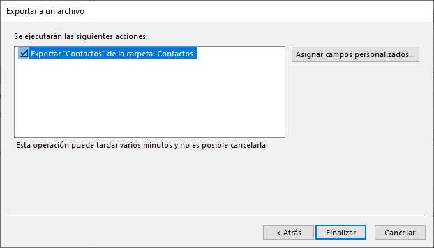 Exportar de contactos outlook
