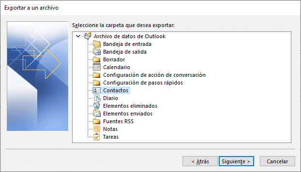 Guardar contactos de outlook