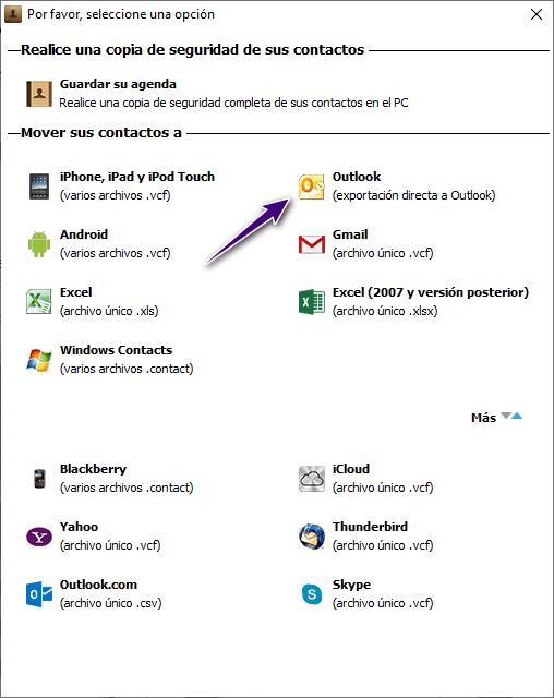Elegir a transferir a Outlook