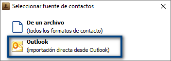 Elegir source Outlook