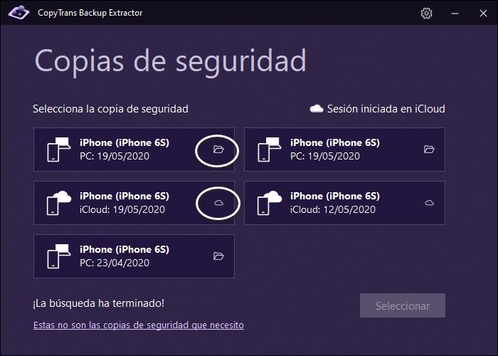 Iconos de copias de iCloud y de PC