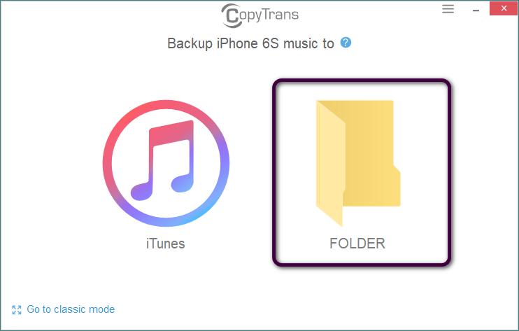 Elegir Carpeta en la pantalla principal CopyTrans