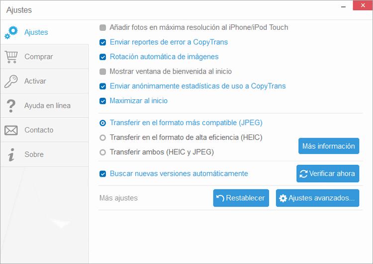 Ajustes de CopyTrans Contacts