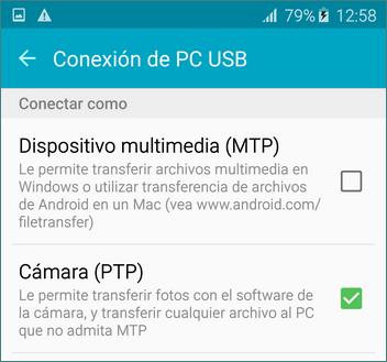 Ajuestes de cámara PTP en Android