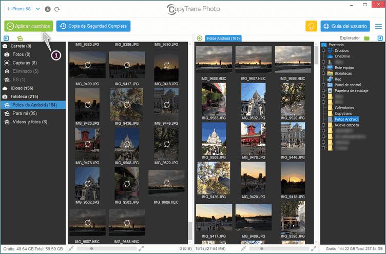Aplicar Cambios CopyTrans Photos