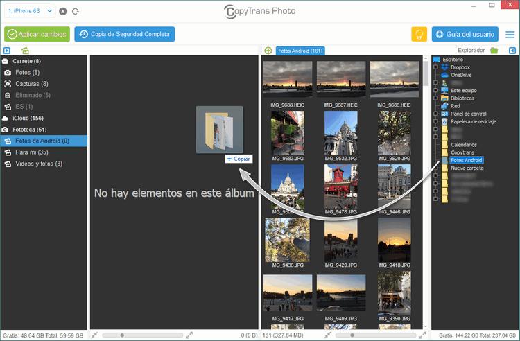 Arrastrar y Soltar Carpeta en CopyTrans Photos