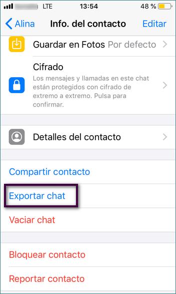 exportar chat por correo