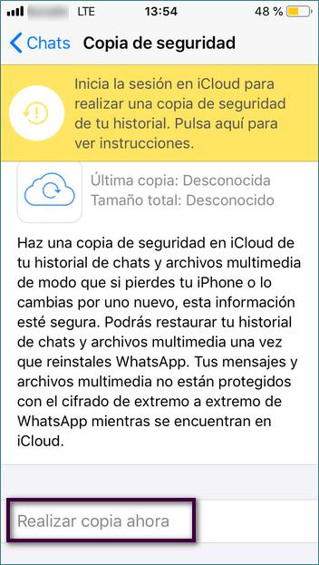 Realizar copia de seguridad de WhatsApp