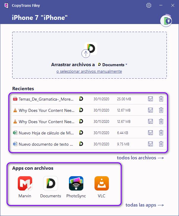 Apps en CopyTrans Filey