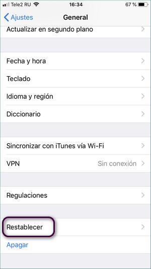 Restablecer tu iPhone en ajustes