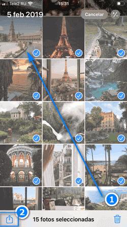Compartir fotos y vídeos seleccionados