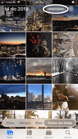 Seleccionar las fotos y vídeos en tu iPhone