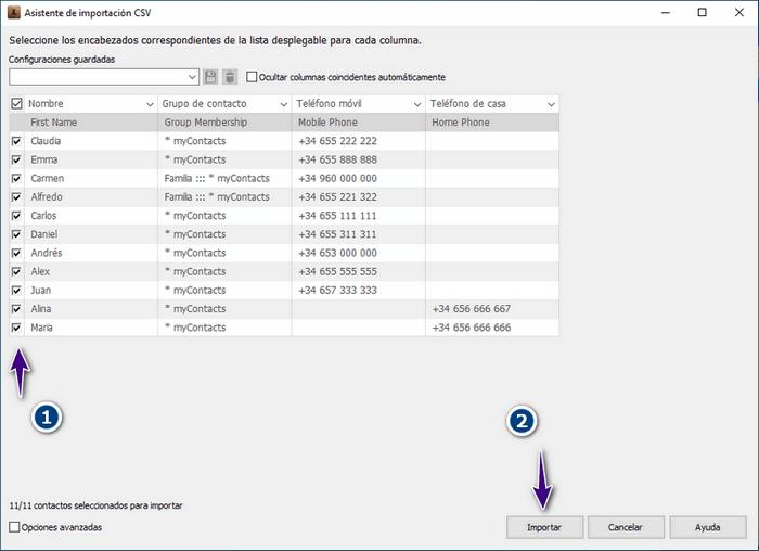 Asistente de importación en CopyTrans Contacts