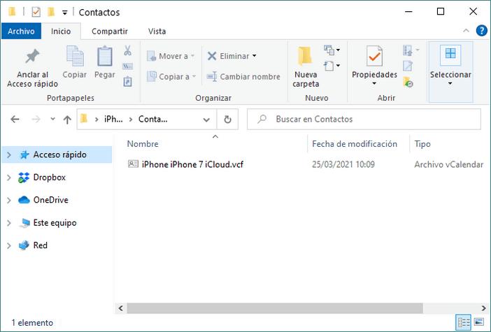 Guardar Contactos en tu ordenador