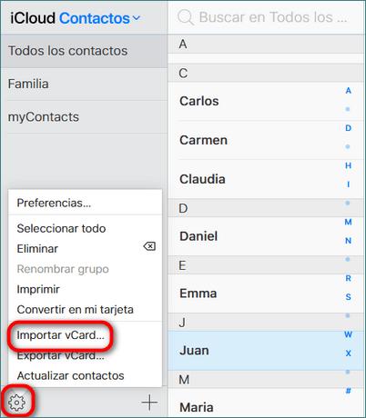 Guardar contactos iphone en icloud