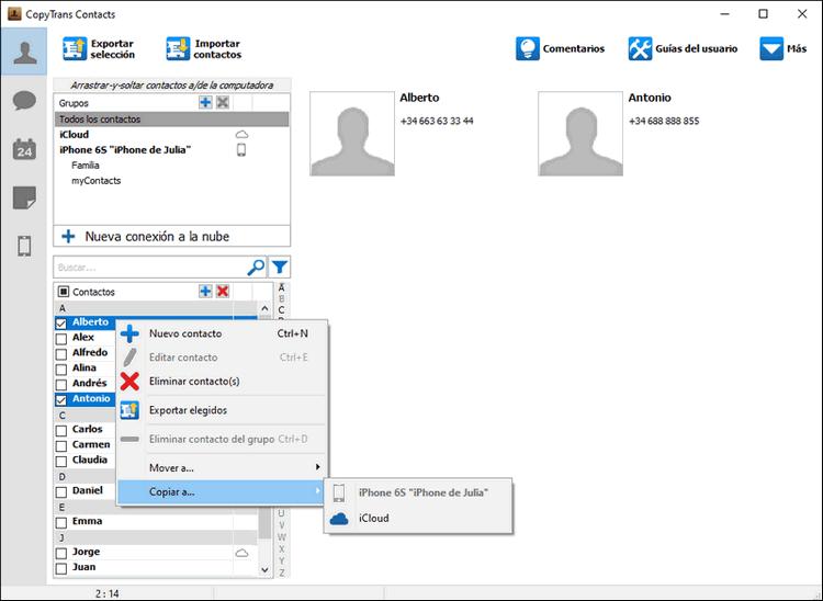 Copiar a iCloud en CopyTrans Contacts