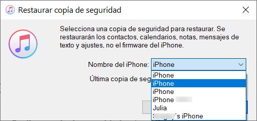 Restaurar Copia de Seguridad iTunes