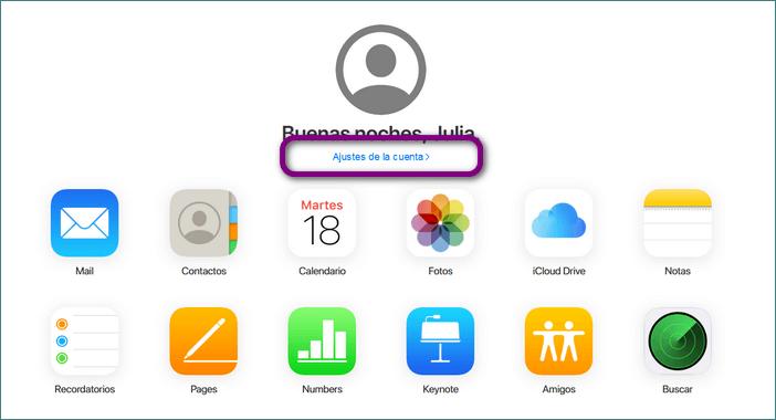 Ajustes de la cuenta de iCloud