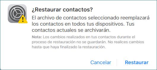 Confirmar restaurar contactos borrados iPhone