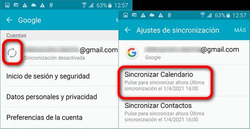 Calendarios syncranizado con Google