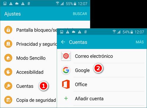 Elegir Google como cuenta para sincronizar
