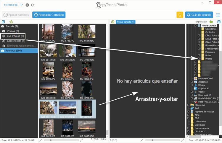 Arrastrar y soltar fotos en CopyTrans Photo