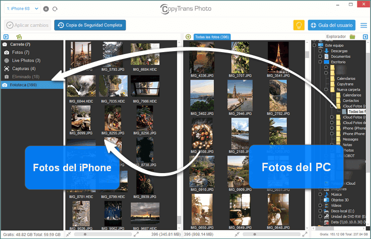 Pasar Fotos de PC a iPhone con CopyTrans Photo