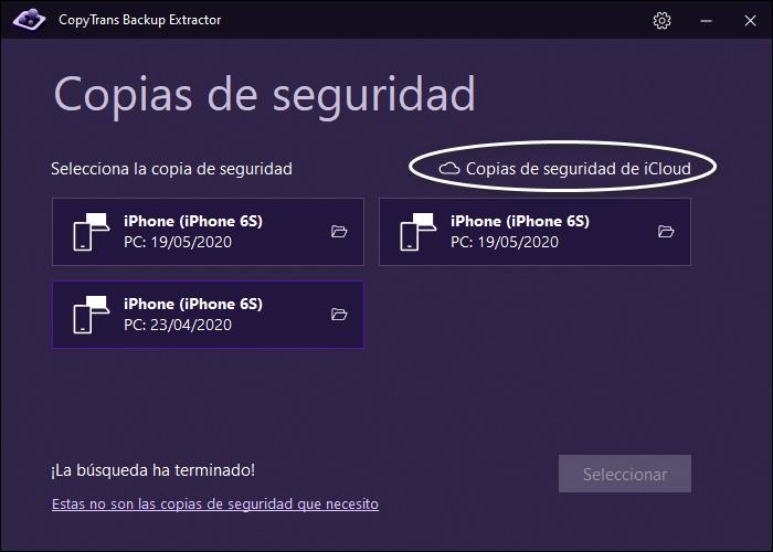 Entrar en iCloud CopyTrans Backup Extractor