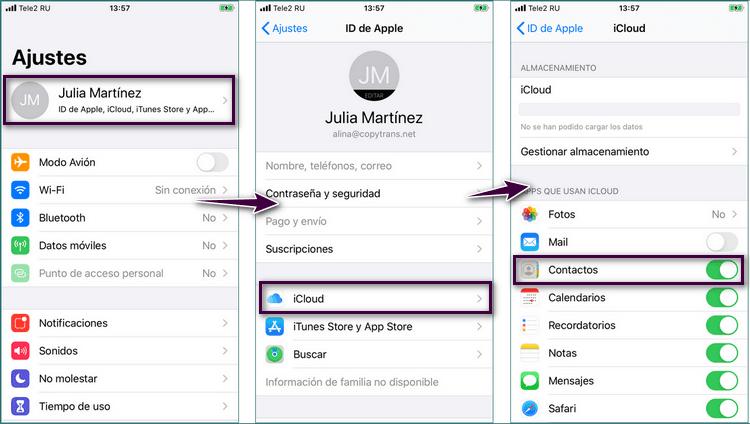 Ajustes de iCloud en tu iPhone