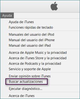 Buscar actualizaciones iTunes