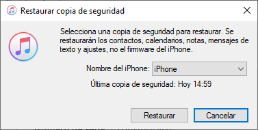 Elegir Copia de Seguridad para restaurar en iTunes