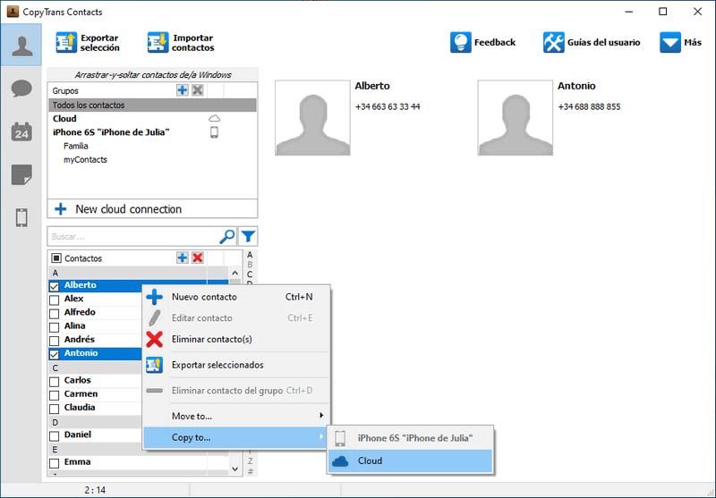 Mover contactos a iCloud