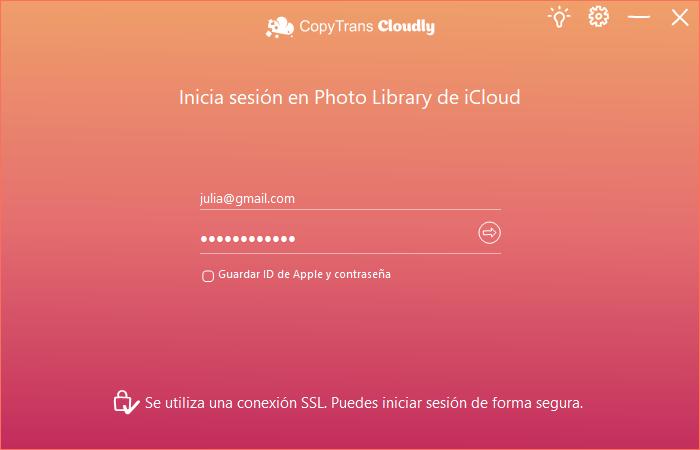 Iniciar la sesión de iCloud