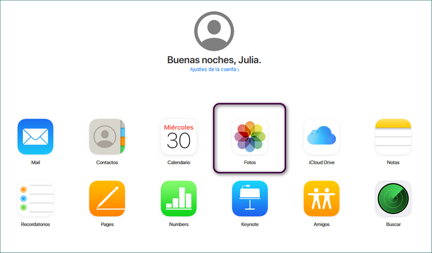Entrar en iCloud en sitio web