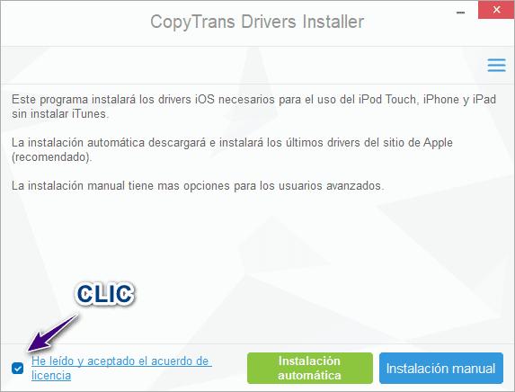 Aceptar acuerdo de licencia de CopyTrans Drivers Installer