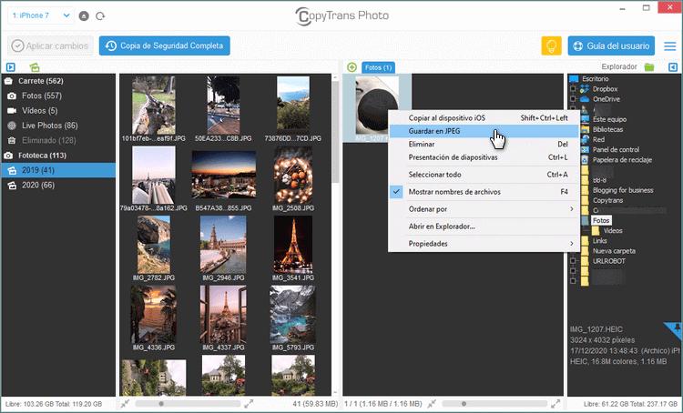 Guardar HEIC en JPG con CopyTrans Photos