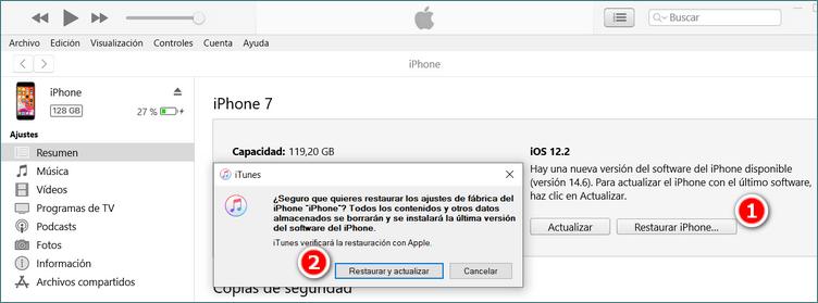 Restaurar iPhone a los ajuestes de fábrica con iTunes